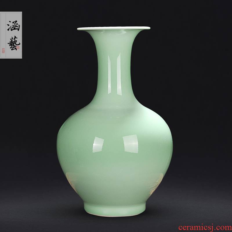 Jingdezhen ceramics large shadow blue glaze vase Chinese flower arranging sitting room porch household adornment handicraft furnishing articles