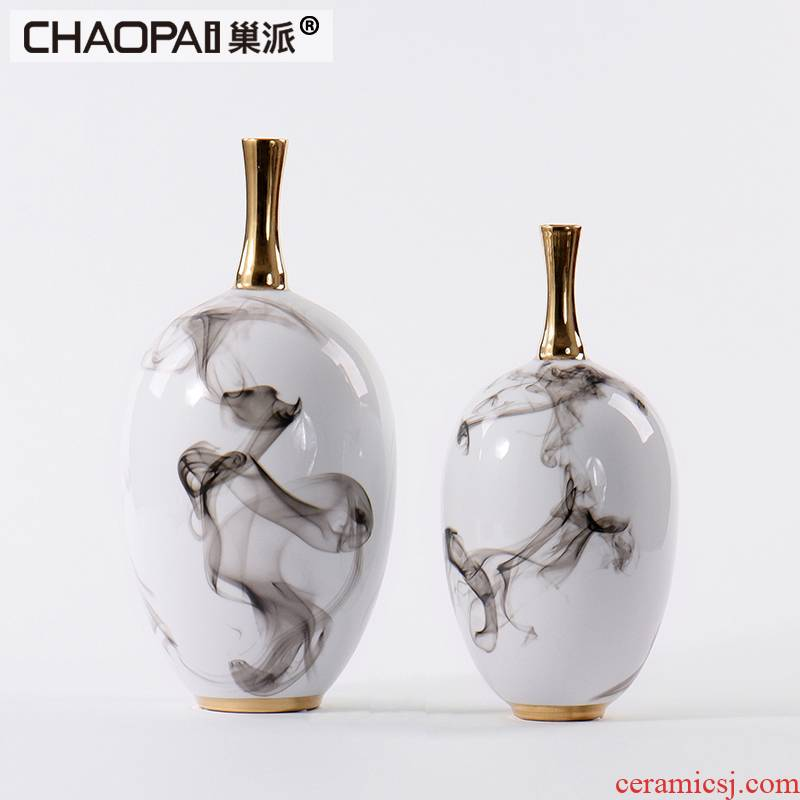 The New classical style ceramic flower vases postmodern decorative pottery handicraft furnishing articles show fine expressions using floral outraged