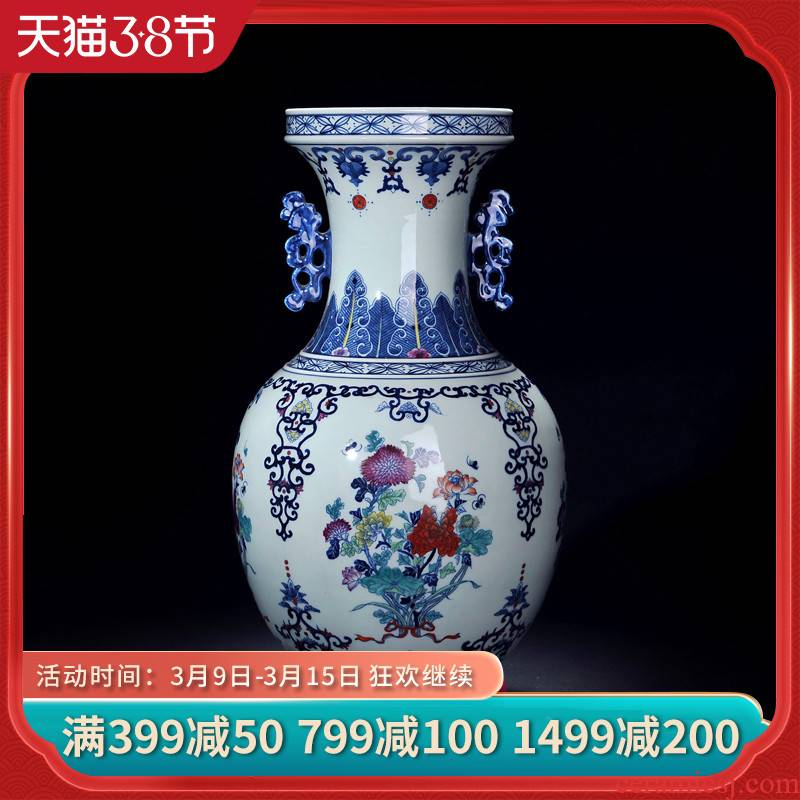 Jingdezhen ceramic vase manual archaize ears youligong blue and white porcelain vase decoration crafts home furnishing articles