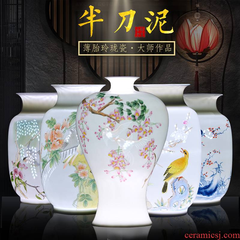 Jingdezhen ceramic hand - made vases, sitting room of Chinese style household porcelain bottle knife clay flower arrangement craft ornaments furnishing articles