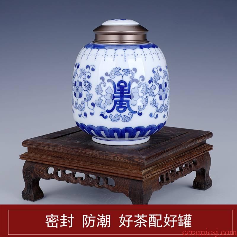 Blue and white porcelain tea pot ceramic half jins to seal pot domestic large capacity receives moistureproof large number of tea boxes