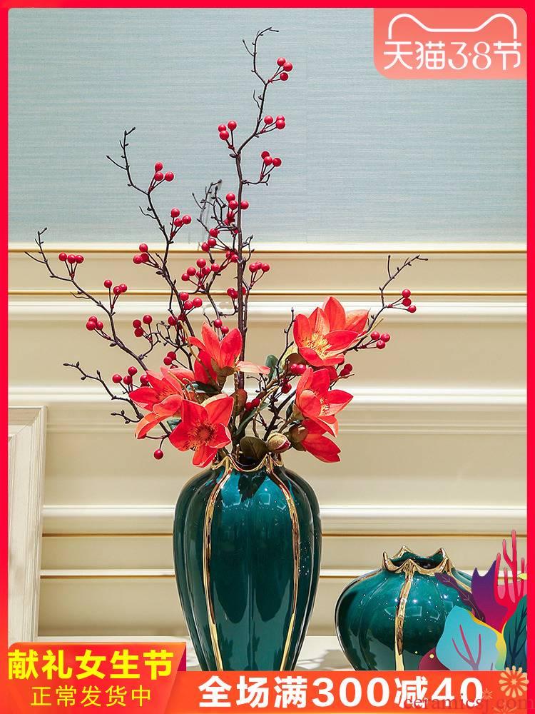 Light European - style key-2 luxury ceramic vase mesa place simulation flower flower, dried flower table, TV ark, household soft adornment