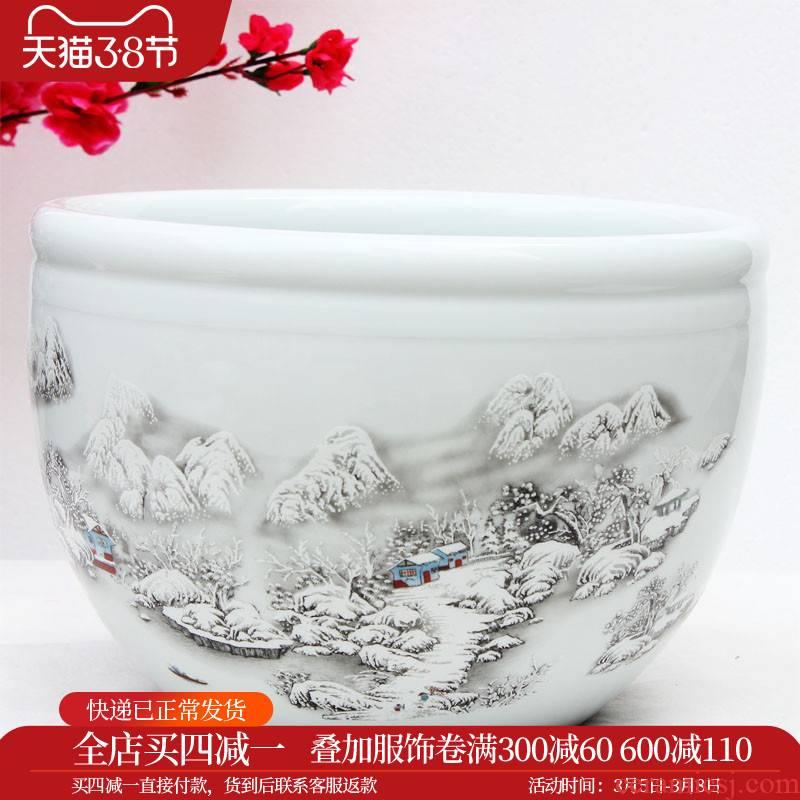 Yg10 merry jingdezhen ceramics flowerpots little gold fish tank water lily bowl lotus tortoise cylinder snow aquatic animals