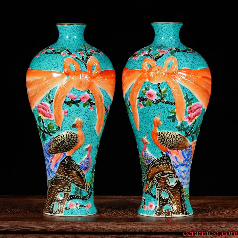 Jingdezhen ceramics floret bottle antique hand - made colored enamel painstakingly bottles of rich ancient frame around the living room home furnishing articles