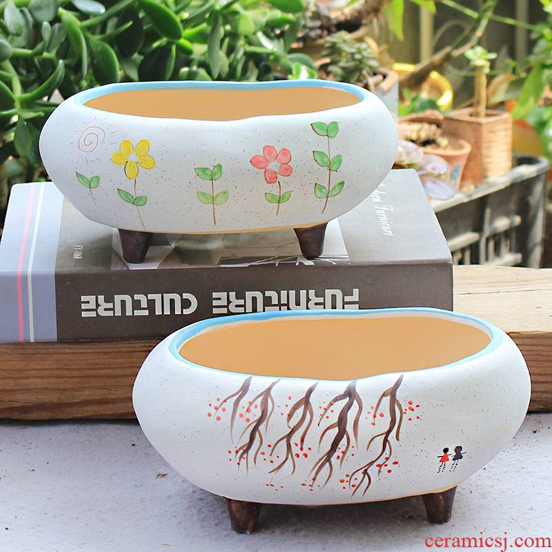 Korean hand - made much meat big flowerpot ceramic package mail special offer a clearance coarse pottery breathable creative large - diameter much meat platter