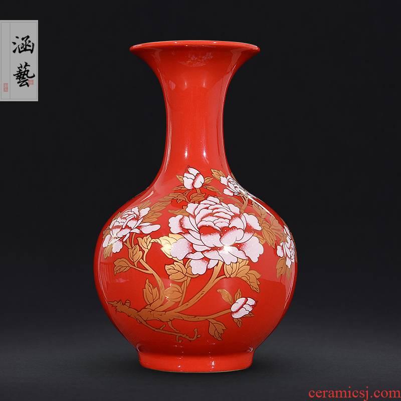 Jingdezhen ceramics wedding gifts red vase peony festival Chinese flower arranging household handicraft furnishing articles sitting room