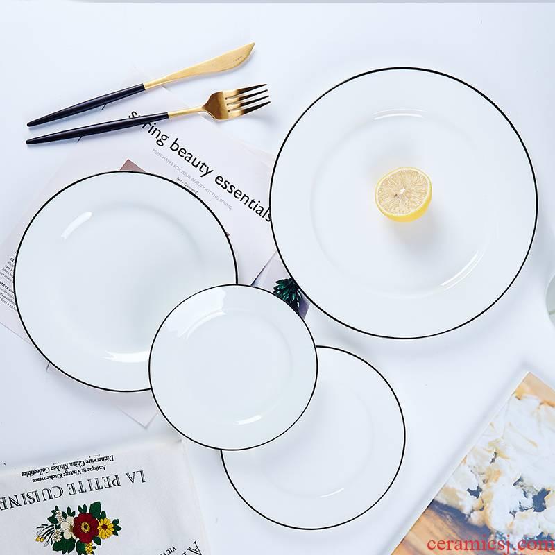 Northern wind jingdezhen ceramics tableware steak dishes dishes household dinner plate ipads plate creative ipads porcelain dish