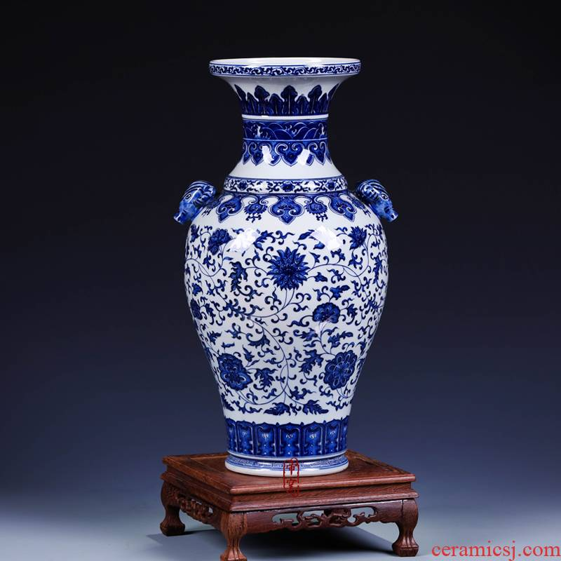 Antique hand - made deer and vase of blue and white porcelain of jingdezhen ceramics furnishing articles sitting room decoration home decoration arts and crafts
