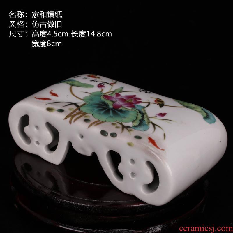 Jingdezhen archaize do old porcelain enamel hand pillow porcelain pillow paperweight basin base imitation collectables - autograph antique ceramic furnishing articles