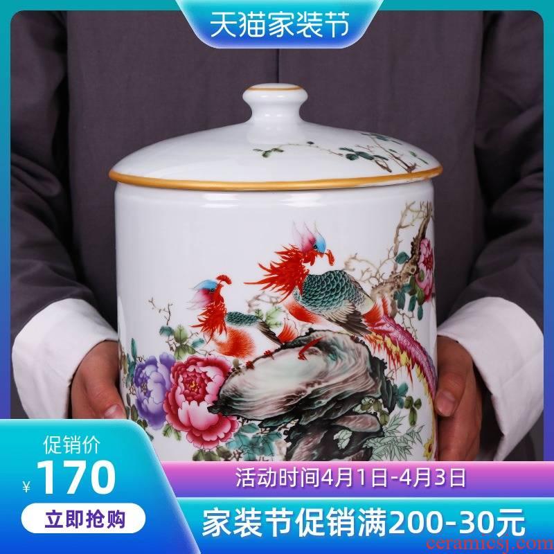 Jingdezhen ceramic household caddy fixings large seven loaves puer tea pot containing porcelain tea pot seal