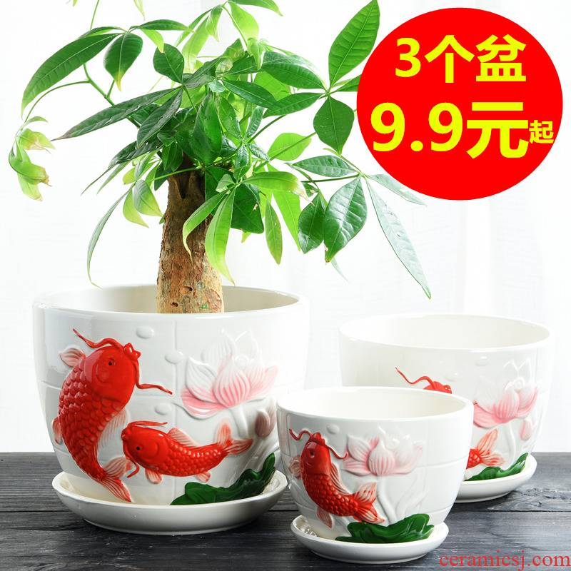 Flowerpot ceramics with pallet size extra large special offer a clearance flesh individuality creative household more than other meat flower pot