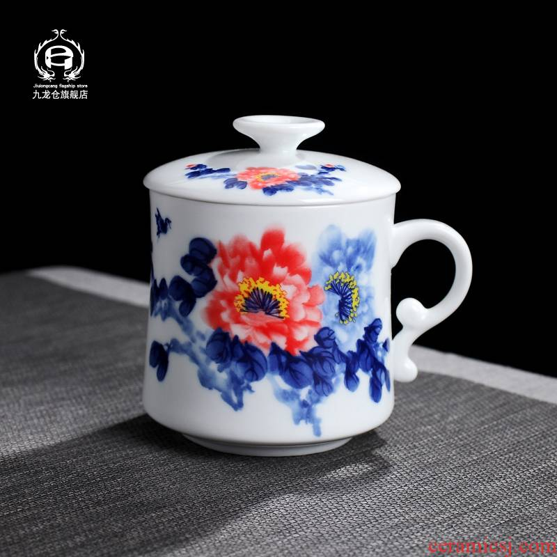 DH filter cups ceramic tea cup with cover man cup of jingdezhen blue and white porcelain ceramic cup tea cups