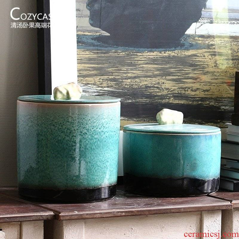 Large POTS of high temperature ceramic Chinese caddy fixings puer tea cake storage tank of the sitting room of the new Chinese style decoration furnishing articles