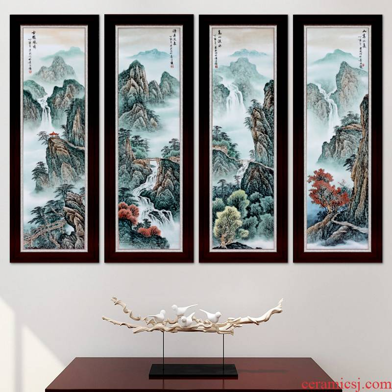 Jingdezhen hand - made pastel landscape sitting room background wall decoration painting Chinese porcelain plate painting porch hang mural metope