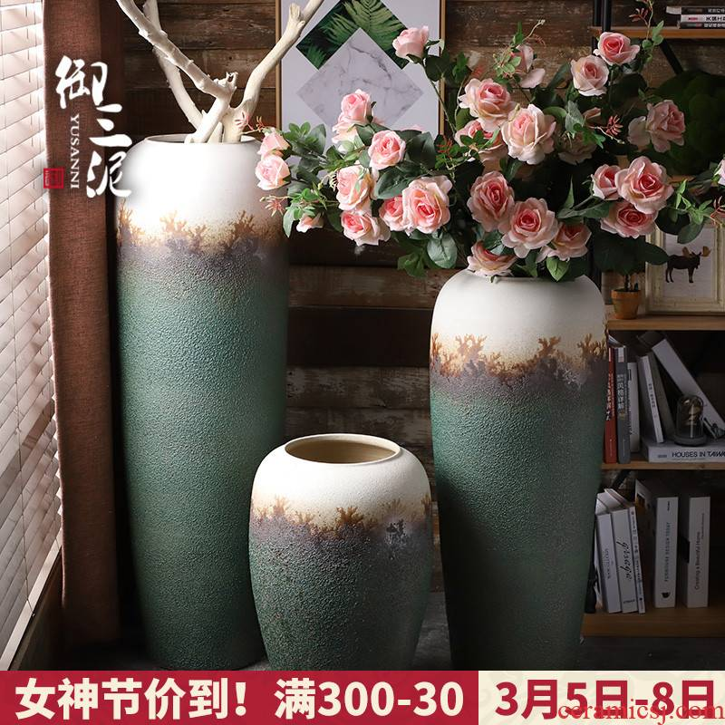 Ceramic vase of large sitting room simulation flower flower arranging furnishing articles contracted and I European retro dried flowers villas suit