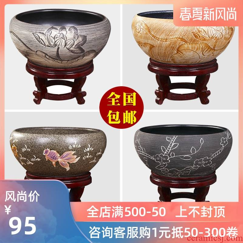 Jingdezhen ceramic aquarium turtle cylinder goldfish bowl of the big tank water lily bowl lotus lotus cylinder cylinder furnishing articles in the living room