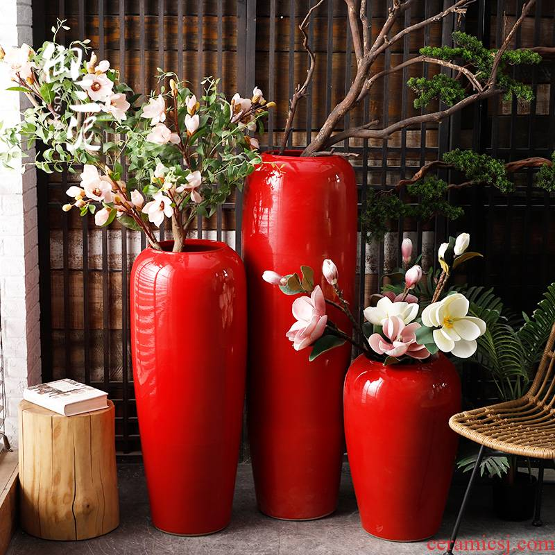 Jingdezhen ceramic floor big vase Chinese festival of Chinese red flower arranging furnishing articles exhibition hall, the opened decoration wedding