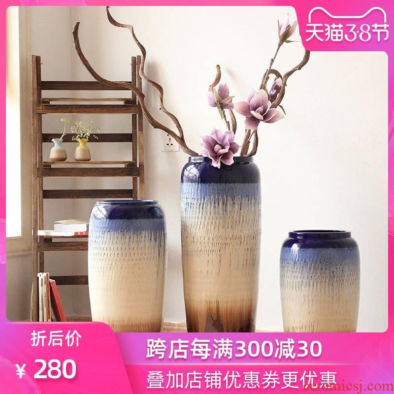 Landing POTS Chinese vase color glaze up modern European sitting room hotel villa place big vases, flower arrangement