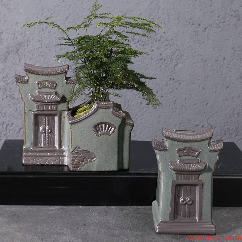 Creative Chinese asparagus pot pottery house home desktop green plant flowers, potted Chinese wind more flesh POTS