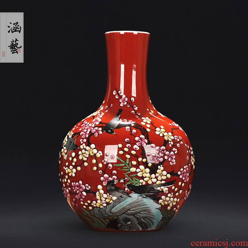 Jingdezhen ceramics hand - made pastel xi mei tip on the tree of new Chinese style sitting room adornment handicraft furnishing articles