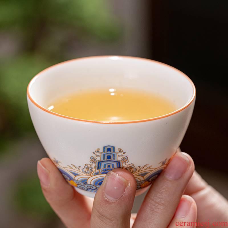 Leopard lam, thick light glaze teacup kung fu tea set ceramic cup tea cup archaize palace cup personal cup colored enamel single CPU