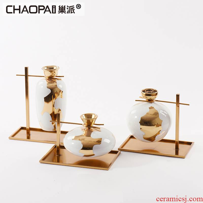 Classical style plating gold ceramic furnishing articles of new Chinese style porch dangling decoration decoration ideas set works of art