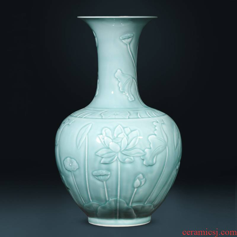 Jingdezhen ceramics imitation yongzheng hand - carved blue glaze furnishing articles large vases, flower arranging new Chinese style living room decoration