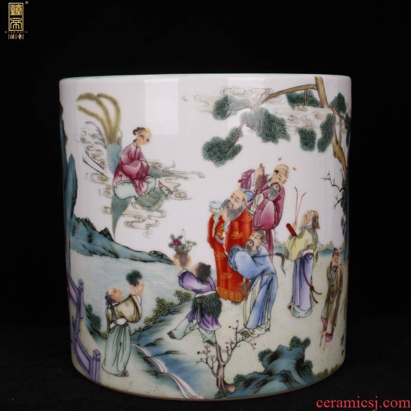 Stories of yongzheng of jingdezhen copy antique porcelain color points four big brush pot pen sea desk office furnishing articles