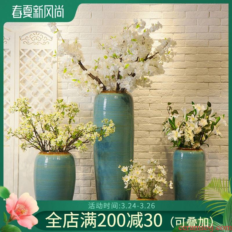 Ceramic floor big vase is contracted and I sitting room adornment furnishing articles hotel theme flower arranging flower implement suits for