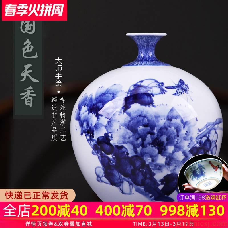 Checking porcelain vase son hand - made of blue and white porcelain of jingdezhen ceramics Chinese flower arranging household act the role ofing is tasted furnishing articles sitting room