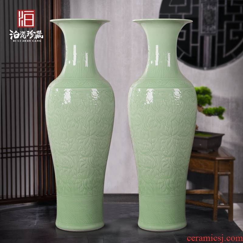 Chinese jingdezhen ceramics engraving big vase furnishing articles sitting room adornment landing large hotel opening gifts