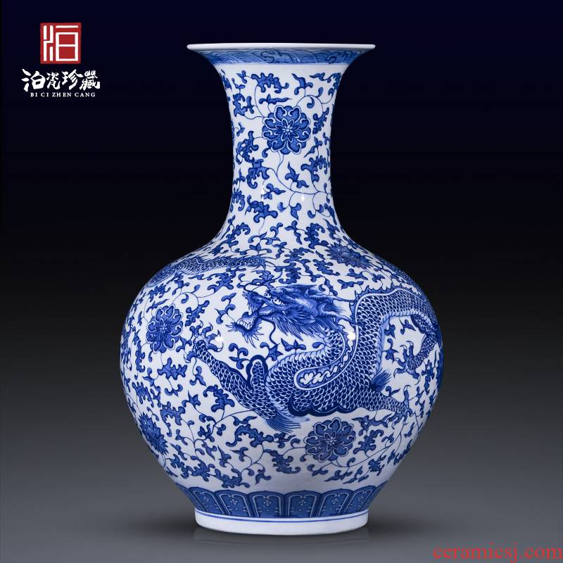 Jingdezhen ceramics hand - made antique blue and white porcelain vases, large flower arrangement sitting room adornment of Chinese style household furnishing articles