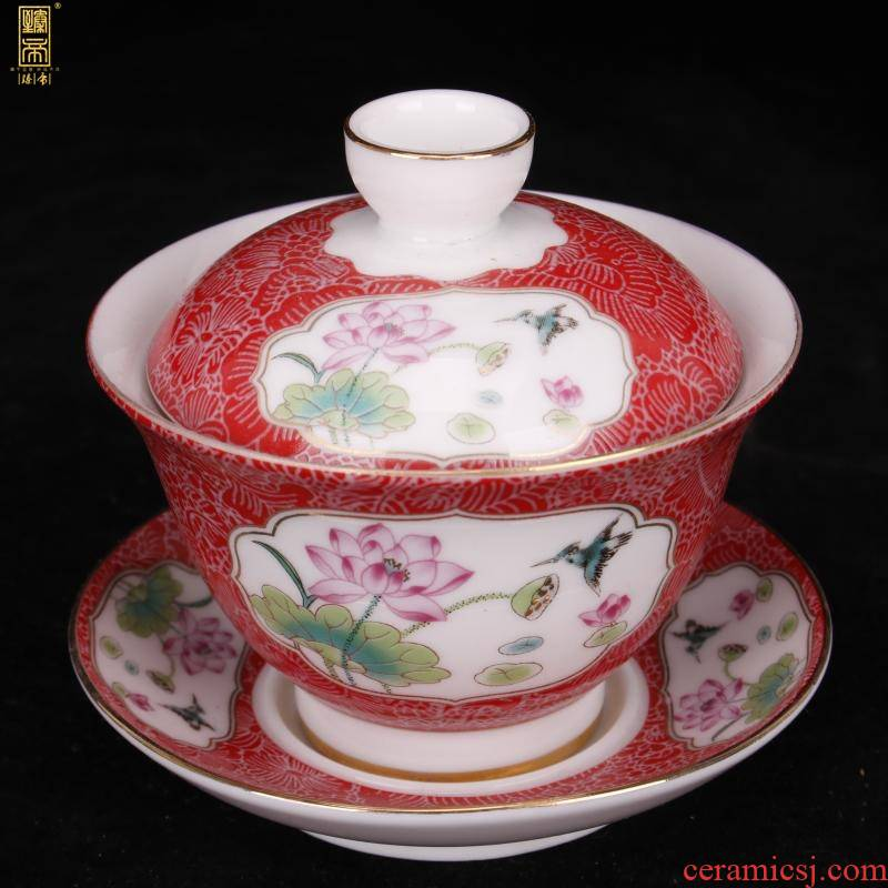 Jingdezhen imitation YongZhengNian only three fuels the wire inlay enamel lid cup tureen boutique tea cups antique furnishing articles