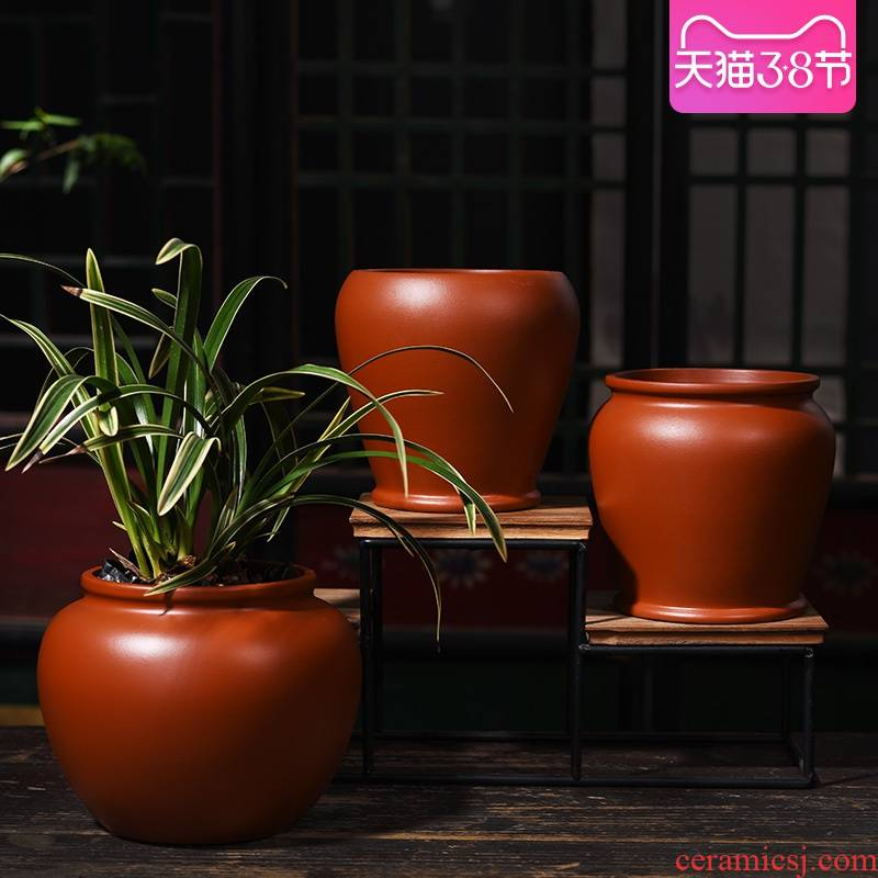 Yixing purple sand flowerpot indoor green plant pot of new Chinese style household bracketplant creative meaty plant ceramic orchid pot
