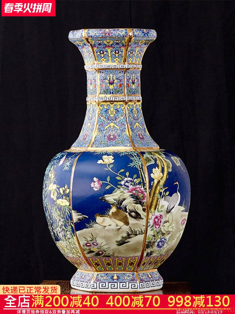 Jingdezhen ceramics antique vase furnishing articles sitting room flower arranging Chinese style classical large rich ancient frame home decoration