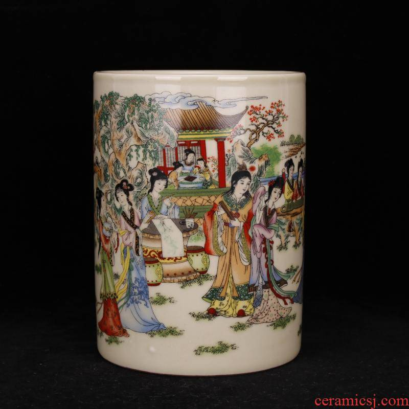 Jingdezhen brush pot imitation word with pastel antique porcelain vase furnishing articles desk four antique home decoration