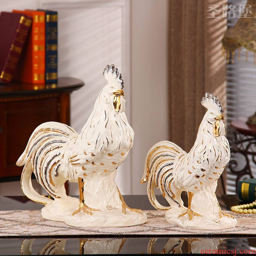 SAN road fort European ceramic chicken place large golden rooster wing shape marriage decorations arts and crafts