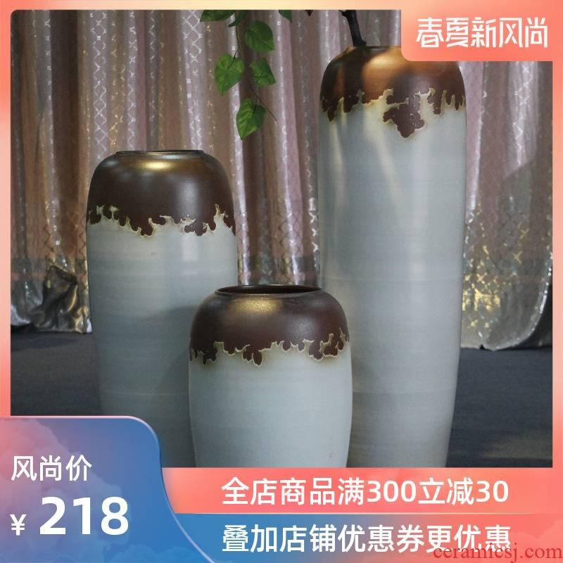 Jingdezhen ceramic vase landing white vase modern European sitting room hotel villa place big flower, flower arrangement