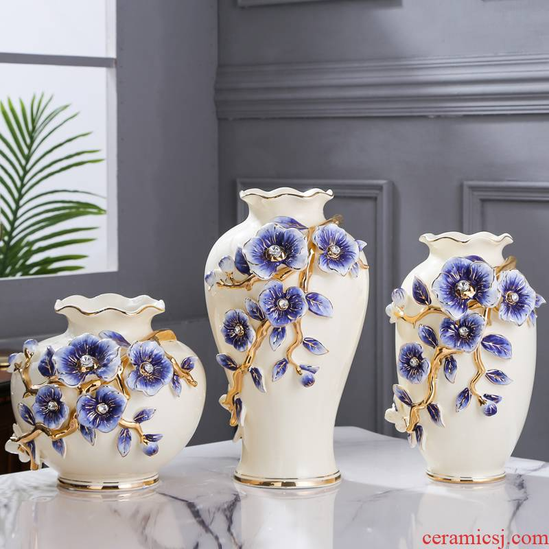 Fort SAN road simulation flower arranging new royal blue name plum flower vase European household living room TV cabinet ceramic vases, furnishing articles