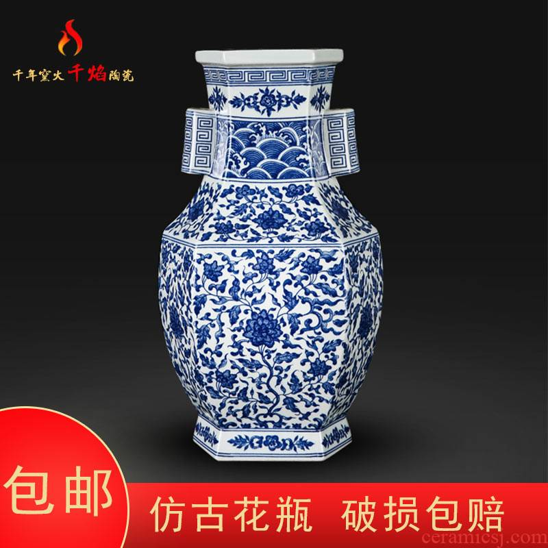 Jingdezhen ceramics mesa blue and white porcelain vase bound branch lotus ears six sides square bottle of traditional Chinese style living room decoration