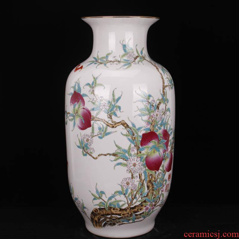 Jingdezhen pastel live long and proper floor idea gourd bottle sitting room of Chinese style household company store decoration vase