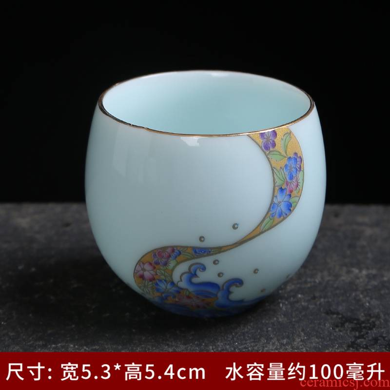 Celadon cup with sterling silver, 999 silver mine loader household ceramic tea cup, white porcelain tea set sample tea cup kung fu masters cup