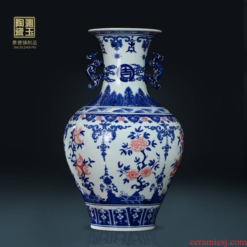 Furnishing articles of jingdezhen ceramics archaize big flower wearing Chinese style living room vase of blue and white porcelain hotel decoration