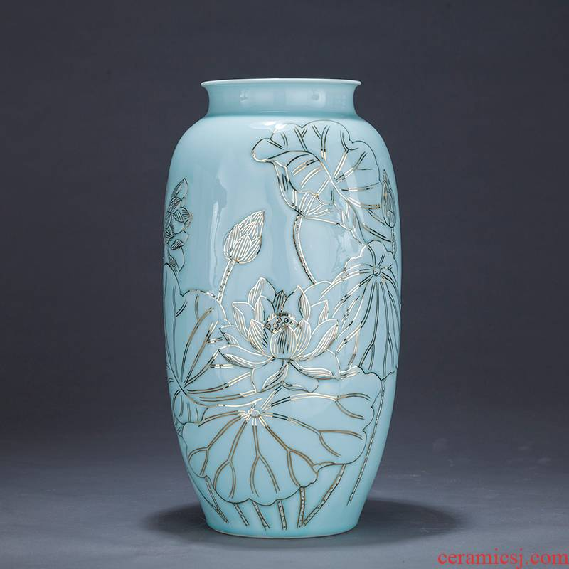 Jingdezhen ceramics by hand shadow green fuels the vase furnishing articles sitting room adornment study of new Chinese style decoration is large