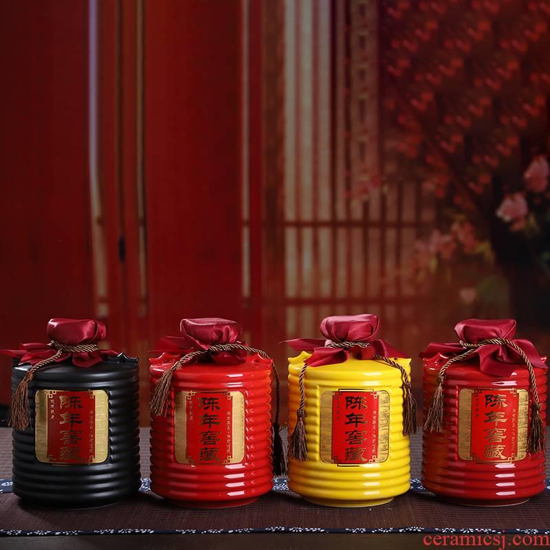 An empty bottle of jingdezhen ceramic Chinese style household hoard seal 3/5 kg bulk liquor mercifully wine jar