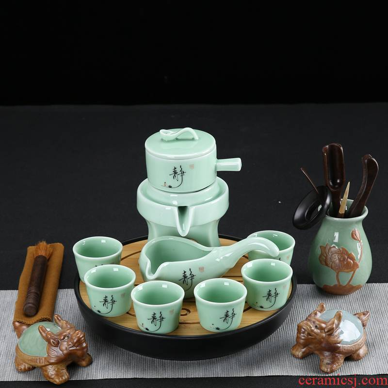 Celadon fortunes lazy all semi - automatic tea tea of a complete set of stone mill household tea tray tea pet accessories