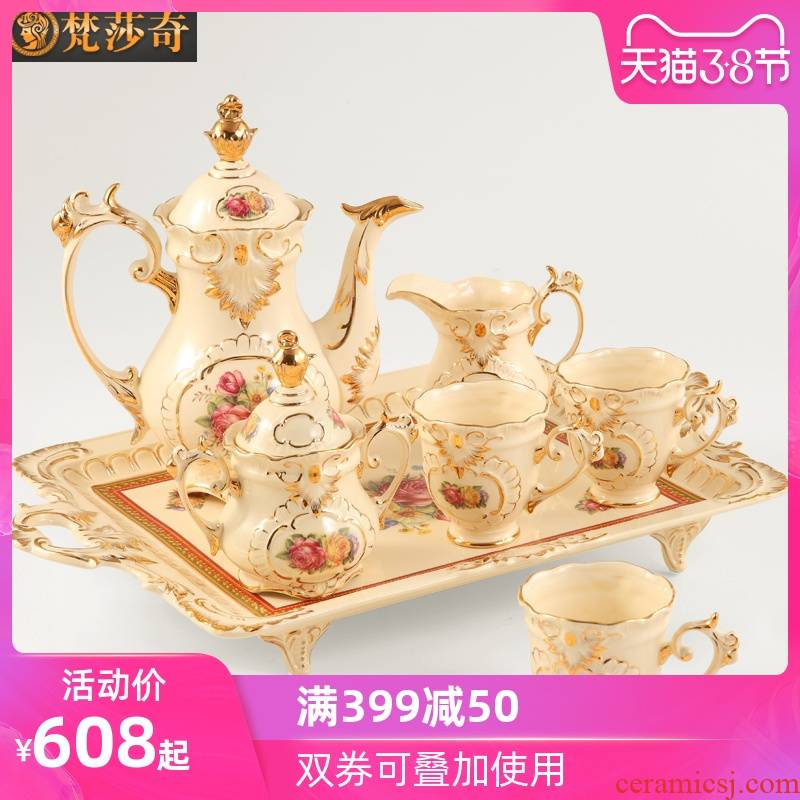 The Vatican Sally British tea set, ceramic coffee set key-2 luxury European - style coffee cups and saucers afternoon tea cups with tray