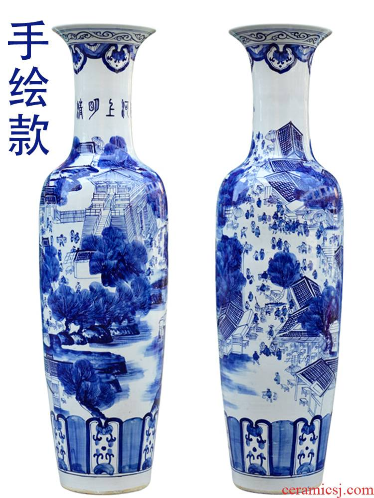 Blue and white porcelain of jingdezhen ceramics hand - made ching Ming vase painting of large sitting room place opening gifts