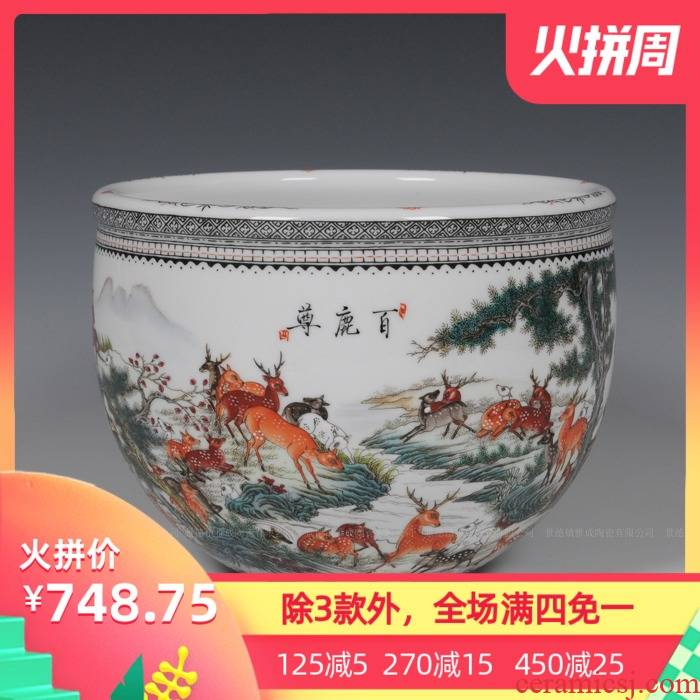 Jingdezhen ceramics hand - made pastel lohan cylinder home furnishing articles furnishing articles household act the role ofing is tasted creative living room
