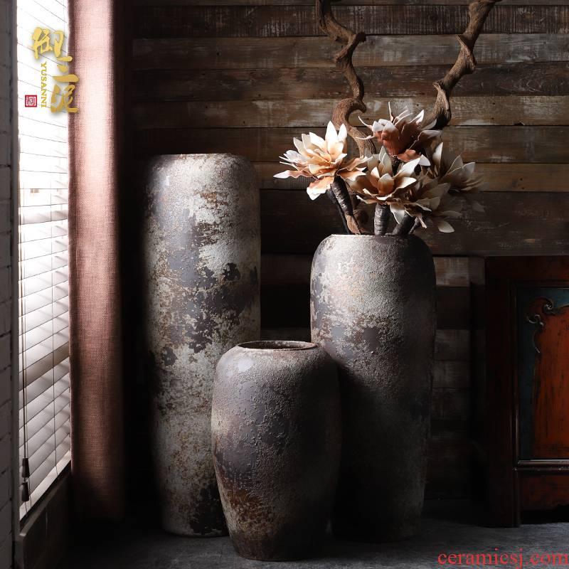 Retro ceramic vases, flower arrangement sitting room place I and contracted large ground vase floral decoration villa garden